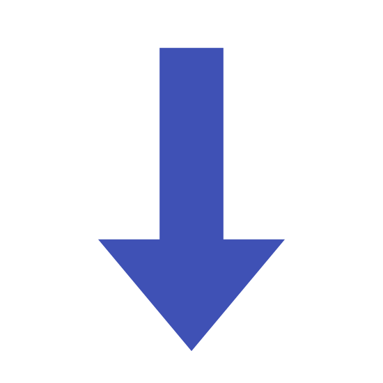 Abajo icon. It is an arrow pointed down. The arrow is black on a solid background. There is one solid vertical line. From the bottom of that line there are two smaller black lines extending diagonally up to the right and left at 45 degree angles.