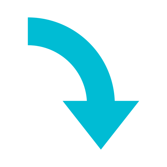 Dół 2 icon. This is an image of a block style arrow. It is pointing down and the tail is curved in a way that implies motion.