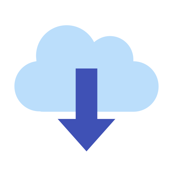 Descargar de la nube icon. The icon is a logo of Download From Cloud. It is the shape of a cloud, with an arrow in the center pointing downward.