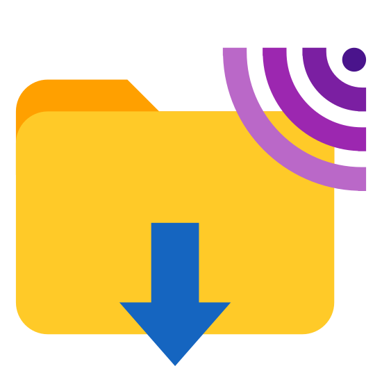 Scarica da FTP icon. It's a logo of download from ftp reduced to a document folder the wifi icon on it's top right hand side and an arrow pointing down from it. The wifi icon looks like the normal wifi icon.