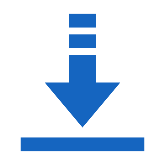 Download icon. This icon is a small box with a gap in the top line. In between the gap there is a large arrow that is pointing down. The arrow has a small pointed line on the end of a long vertical line. The icon is indicating that something is downloading