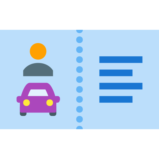 Driver License icon. It's a logo of Driver License Card reduced to a card that appears to be a driver's license. There is a picture of a person, a car, and several details that identify that person on that card. It looks the logo for licenses.