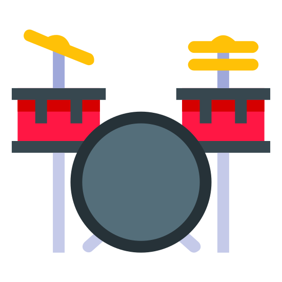 Drum Set icon. The icon is a simplified depiction of a drum set, often used by bands of the genres descended from rock-and-roll, such as punk, ska, heavy metal, southern rock, and grunge. The drum set has two toms, a hi-hat, a cymbal, and a bass drum visible.