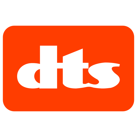 DTS icon. This is an image of the icon DTS. There is a rectangular box, inside of which are the lower case letters dts. The letters are written in a bubbly fashion, with outlining and an empty interior.