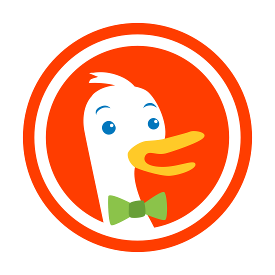 DuckDuckGo icon. The logo is an empty circle with a filled in duck in the middle of it. The duck has its mouth open and is facing to the right. The duck has feathers protruding out of the top of its head, and has tiny eyebrows above its eyes.