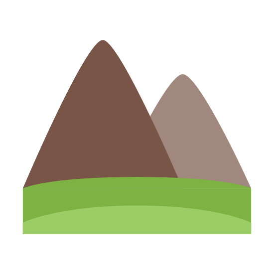 Earth Element icon. This particular icon features two triangle shapes sitting next to each other. The one on the left is taller than the one on the right.  On the bottom of the triangles is two horizontal lines.