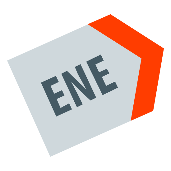 """East North East icon. This is a picture of a tag with it's left side missing. it's open and in the center are the letter """"ENE"""" in all capitals. the tag's point is facing the right hand side."""