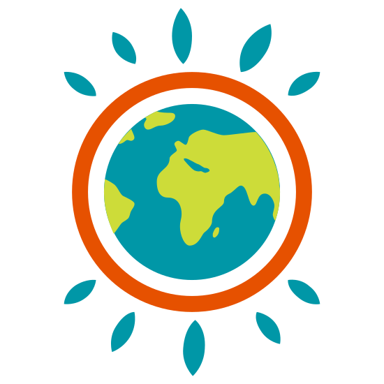 Ecosia icon. It's a globe with some stylings around it. The globe is surrounded by a ring, and the ring has sunburst type lines coming out of it.