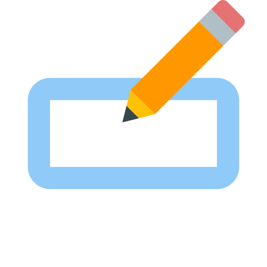 Edytuj wiersz icon. This is a picture of a rectangular box with rounded corners. coming from the top center of the box is a pencil that appears to be drawing in the box.