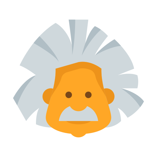 Einstein icon. This looks like Einstein's beautiful face. He has a big mustache, two dots representing his eyes, and lines above his eyes indicating his eyebrows. He has very, very crazy hair. He doesn't look happy.