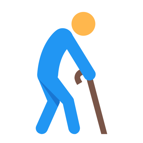 Elderly Person icon. The icon is a simplified depiction of a humanoid figure. The humanoid figure is stooped slightly, with its right arm out-stretched slightly to hold a cane that it is using to support itself. Its right leg is forward, as if the figure is mid-stride. Its head is hunched slightly.