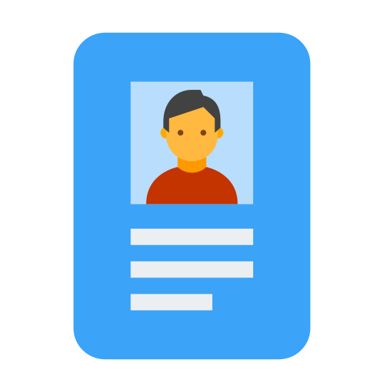 Crachá icon. This is an Icon of an Employee Card reduced to a card with a picture of a human on it. The human is centered on the middle of the card. There are two lines of writing underneath the human, possible identifiers.