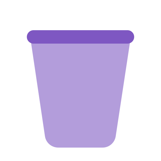 Pusty kosz icon. A picture of a waste basket. The basket is shown being made of cris-crossing diagonal lines. The bottom is more narrow than the top and tapers outwards up to it.