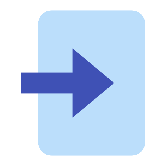 Enter icon. An enter icon is a rectangle shape and between one of the sides of the rectangle there is an arrow. The arrow is going through or entering into one of the sides of the rectangle, which shows something is entering.