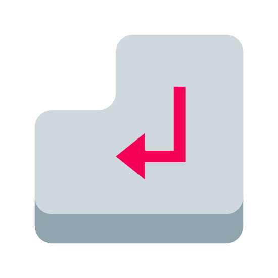 "Przycisk ENTER icon. This icon for ""enter key"" is a backwards facing L-shaped bubble. It has curved edges. In the center of this L Shape is an arrow, which points to the left and is also curved upward at its tail end."