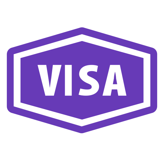 Wiza wjazdowa icon. A square figure with the corner cut off, making an indention with a curve. Inside the square, is the word VISA along with two straight lines below the VISA. The straight line on bottom of the two straight lines has a small gap closer to the middle right side of the line.