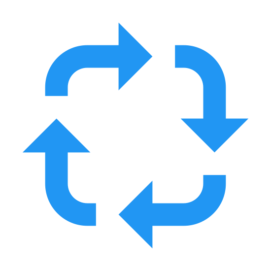 Environment icon. This icon features four arrows that follow each other in a square like fashion. This depicts to the onlooker the idea of recycling and also the environment.