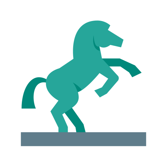 Pomnik konny icon. The icon is an equestrian statue. It is shaped like a horse standing on its two back legs in an upright position.
