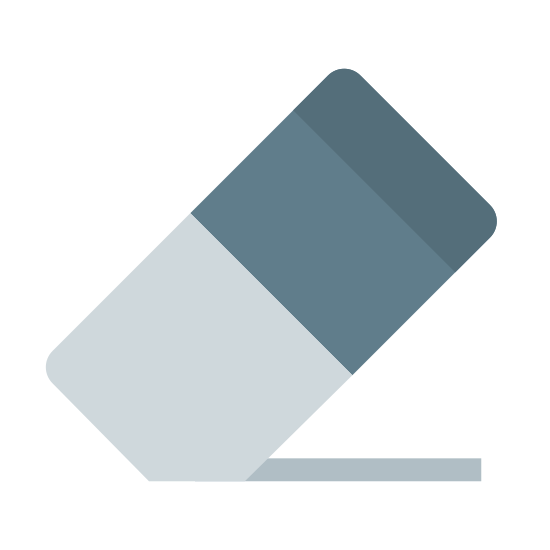 Erase icon. This icon is a rectangle standing on one of it's corners. The corners are all slightly rounded. The rectangle is divided into two sections: one that is empty and one that is full of evenly spaced dots. This icon is meant to represent an eraser.