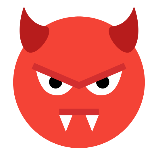 Evil icon. This icon is a round face that is evil. It has two horns on it's head and fangs coming out of it's mouth. It would be used to represent the devil.