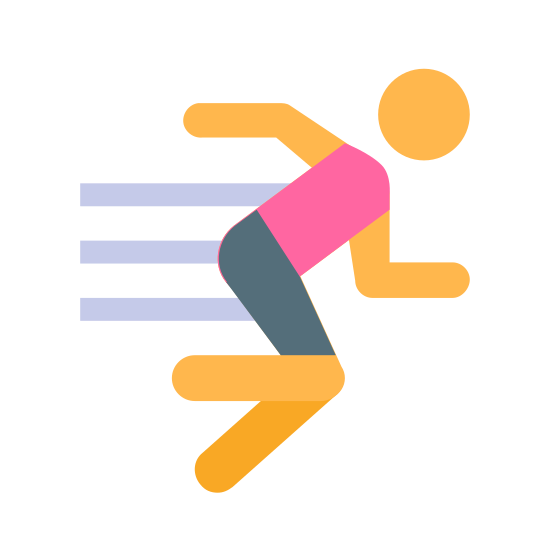 Exercício icon. This is an icon representing exercise and shows a person running to the right. There are four differently sized horizontal lines coming off the back of the runner to show it is traveling.