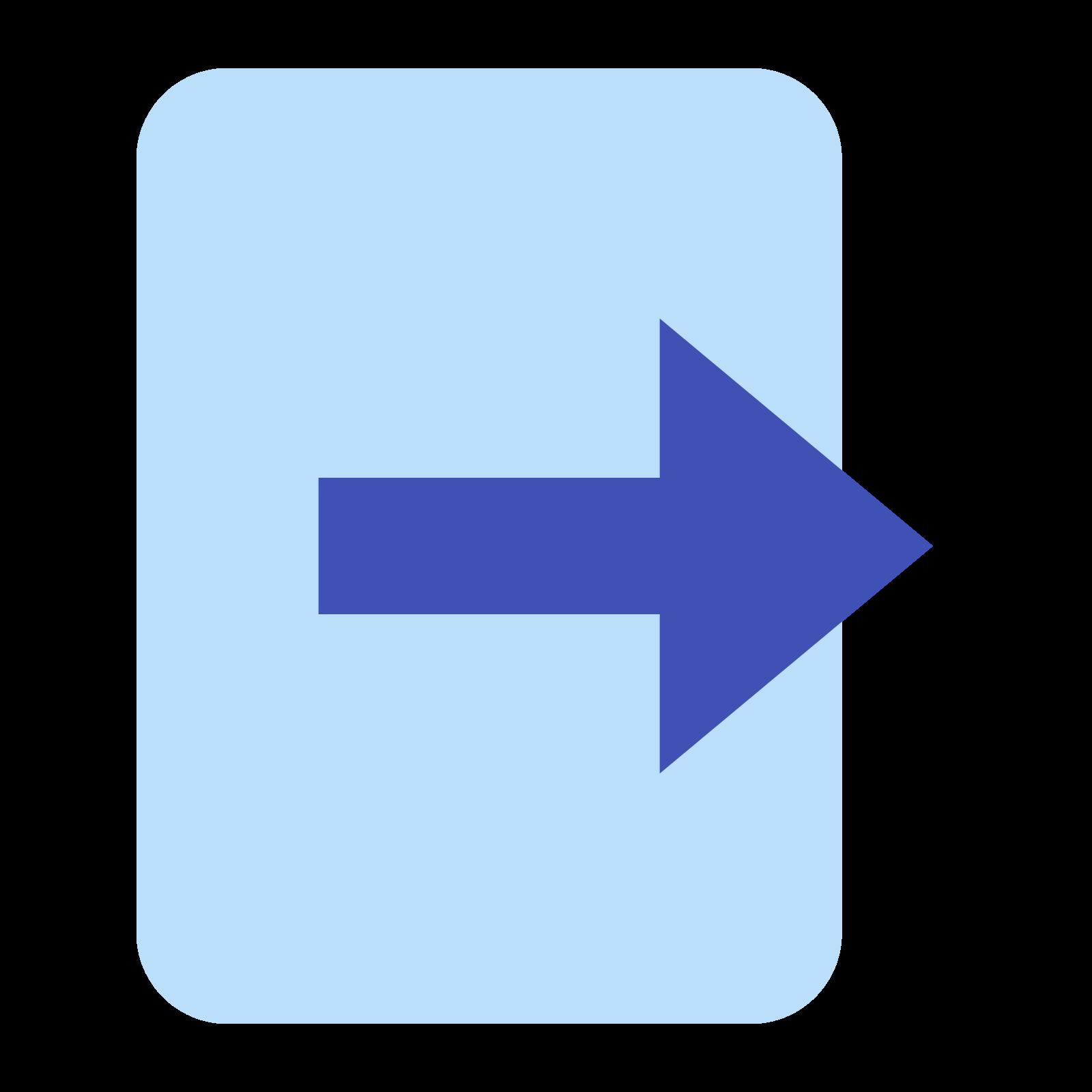 出口 icon. Consider a square with some part missing at the middle of the right side. There is an arrow pointing towards east or right side for which the tail starts from the center of square and head of arrow begins at the missing part on the right side of square.