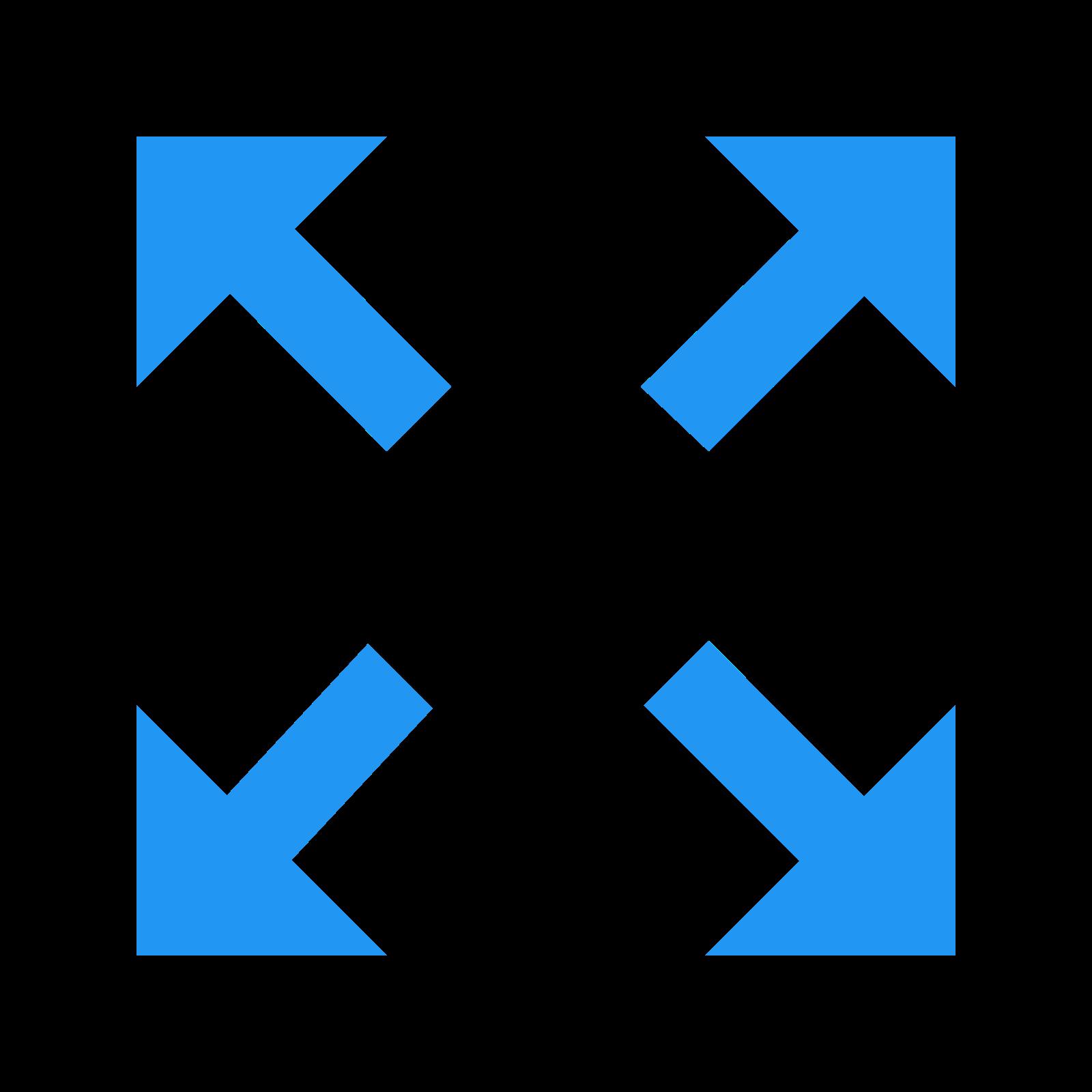 拡大 icon. The Expand icon is made up of four arrows, the arrow head is a right angle and the shaft is a straight line.  The arrows start around the center of an invisible square and the arrows point to a corner of the invisible square.  The arrow heads each make a corner of the invisible square.