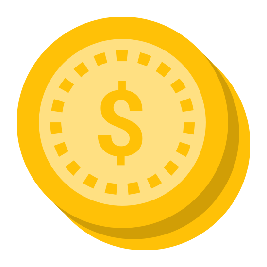 Expensive Price  icon. There is a circle and inside the circle is the US dollar sign. To the right of the circle there is a 1/4 circle as if the first circle is covering the remaining 3/4. To the right of that, there is a third circle and this one as well is only a 1/4 circle - - appearing to have the remaining 3/4 of the circle covered by the second circle. In summary, it is three coins stacked on top of each other with each of the right side of the coin being visible.