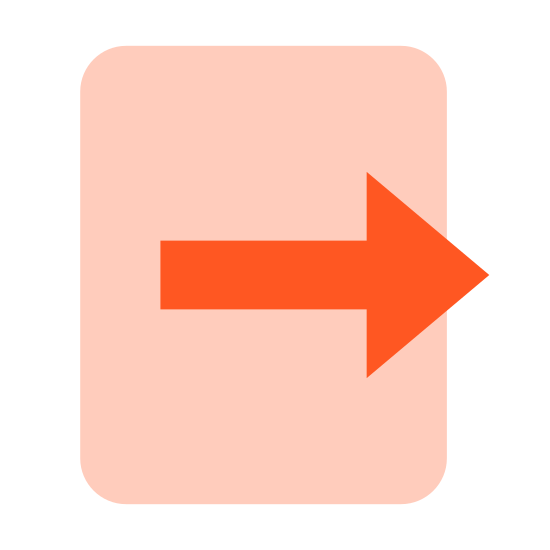 Export icon. The export file option, a piece of paper with an arrow drawn from the middle of it, pointing outward to the right. This is what people click on to move their file somewhere else.
