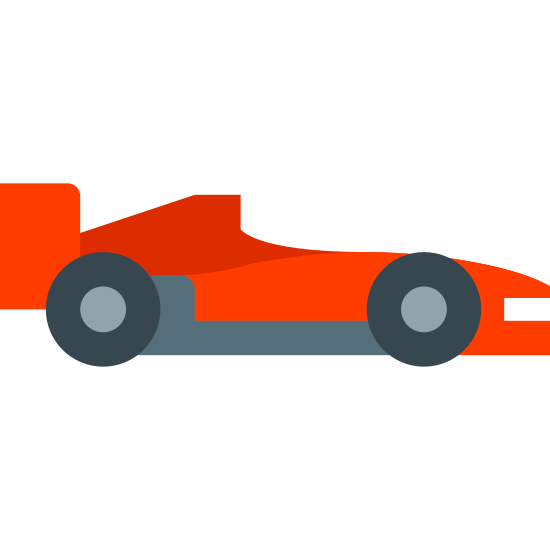 Samochód wyścigowy F1 Widok z boku icon. There are 2 wheels, both circular. it is attached to a car that has many sharp angles. it has a very high raised part at the trunk of the car.
