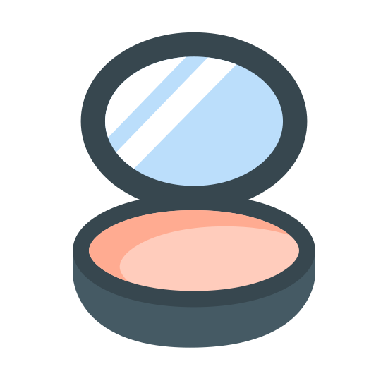 Face Powder icon. There is a lid open with three lines inside the lid. The bottom part of the container has a circle in the middle of it. That circle takes up most of the container opening.