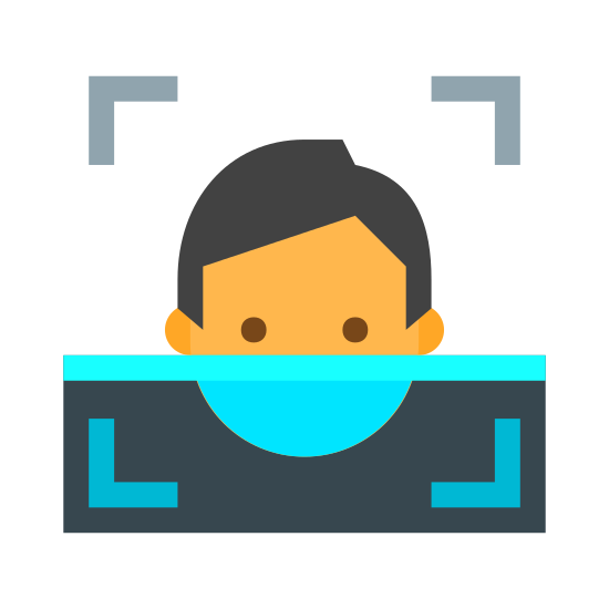 Rozpoznawanie twarzy icon. This icon represents facial recognition scan. It has four square corners with a face in the middle. The face has two small round hair and short hair. The face image has a line through the middle leaving the bottom half of it completely blank.