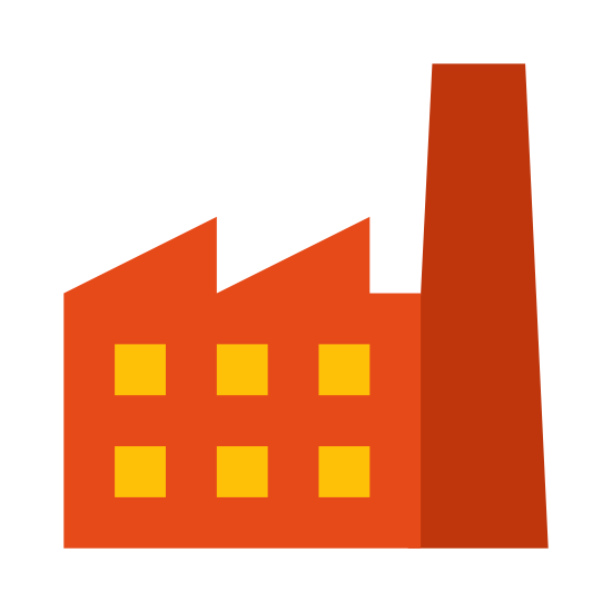 Factory icon. A black and white outline image of a building and a single smoke stack on the right that goes higher than the rest of the building. The building has six windows and it has an angled roof divided into two sections.