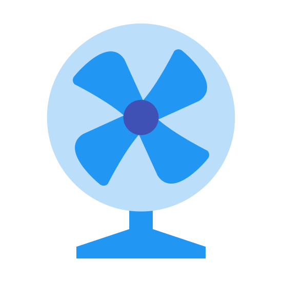 Fan icon. It shows a circular fan with three blades and has a little stand on the bottom. The blades are curved to the left and there aren't any spokes like on a regular fan.