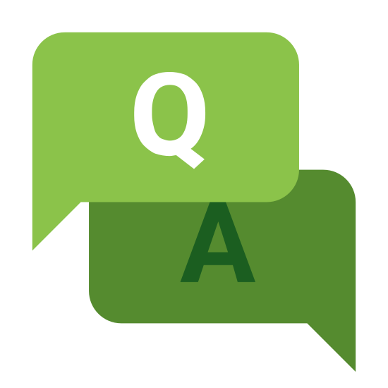 "FAQ icon. The icon FAQ is two squares on top of each other with the top one off to the right. The top square has a capital ""A"" in the middle and a small point on the bottom right corner that extends past the edge. The bottom square has a capital ""Q"" with a point that extends past the edge on the bottom left corner."