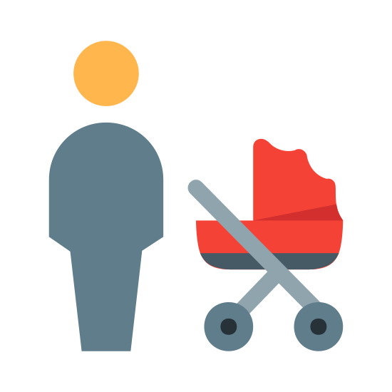 Отец icon. This is an image of a man. And an image of a baby stroller on the right hand side of him