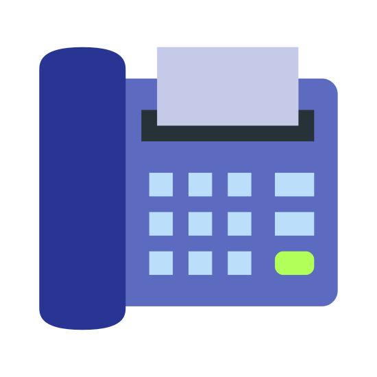 Faks icon. This icon features a phone connected to a fax device. The icon as a whole is fairly square and the fax device includes a 9 digit keypad for dialing.