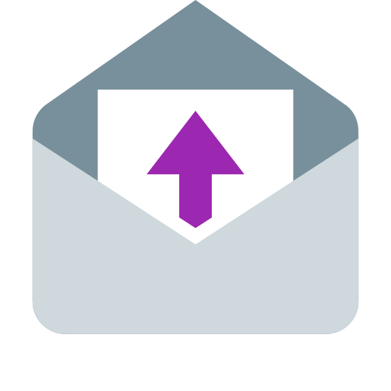 Informacje zwrotne icon. The icon is a picture of the logo for feedback. The icon is in the shape of a rectangle. The rectangle appears to be an open envelope, with some kind of document coming out of it. The document has an upward arrow in the center of it.