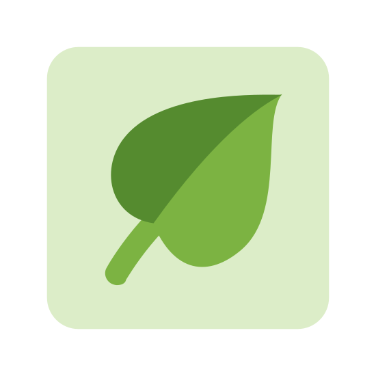 Fiber icon. The logo is shaped like a leaf with a line down the center. There is a box around the leaf with rounded corners. The logo is drawn only with lines.