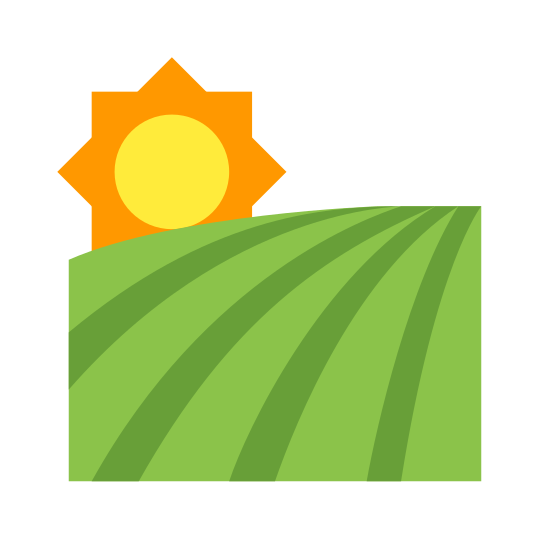 Field icon. The icon is a picture of the logo for Field. The icon is what appears to be a farmers field. The icon also has a sun at the top left. The icon has several lines on it, implying that it is a field for crops.