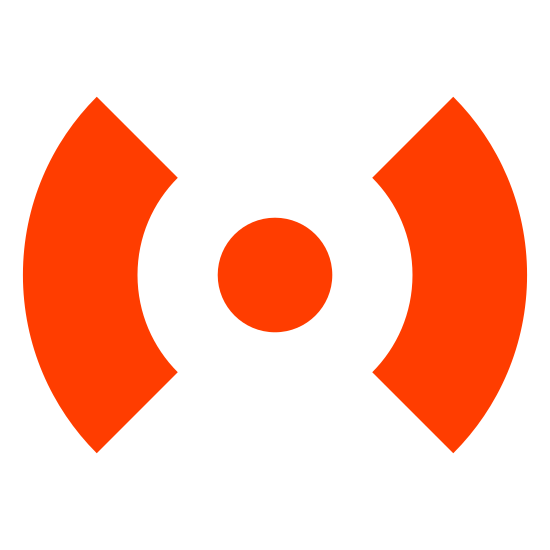 Alert icon. This icon represents fire alarm button. It is a circle with two curved lines on the outside. The lines on the outside are significantly larger than the circle and surround it without ever touching it or each other.
