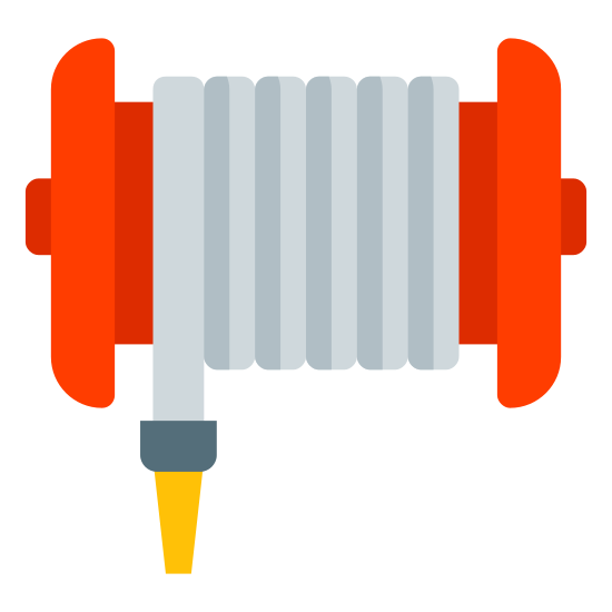 Fire Hose icon. It's a icon of a fire hose wound up on a spool type item. The end of the hose has a pointed nozzle on it that hangs down on the left side of the spool.