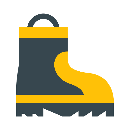 Work Boot icon. It's a logo of one firman boot. The boot is from the side and facing to the right. It has some lines in it and a circular line at its leg opening. The soles have many jagged lines on the bottom.