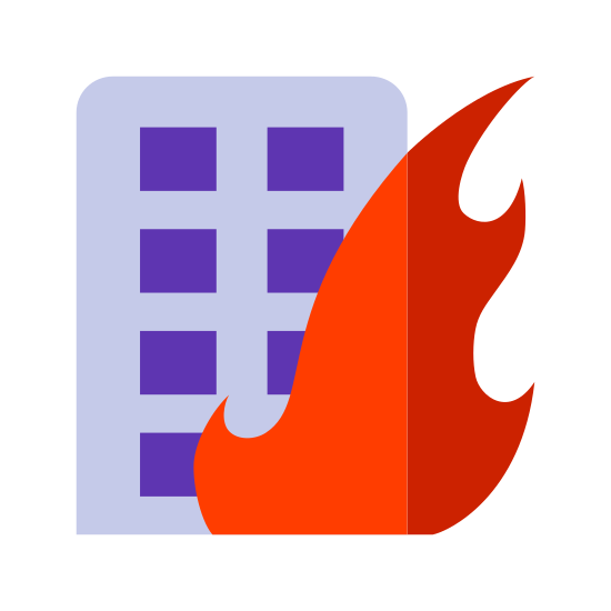 Fires icon. A three story building with two rows of windows along the front. There are two big sections of flame. One goes all the way up the right side of the building. The second section of flame is also on the right side, but it only goes up to the bottom of the third story window.