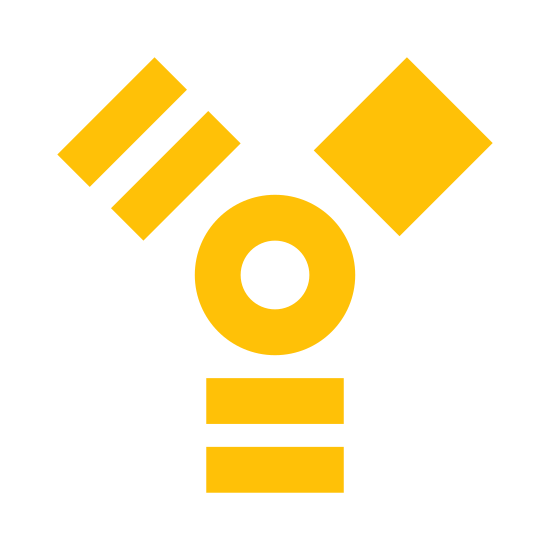 Firewire icon. Ok this is a image of a small circle inside another circle in the center of five boxes. On the top right corner the box is completely connected. On the bottom there are two rectangles , as well as on the left top. this shape creates the letter Y pattern