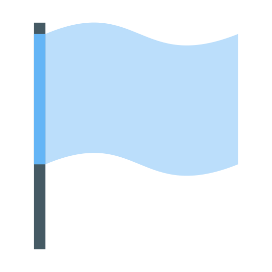 Flaga 2 icon. This is an icon for representing flag 2. There is a long vertical line with the flag waving to the right of it. There is nothing on the flag. It is plain. The flag is made up of two curved perpendicular lines and a vertical line at the end.