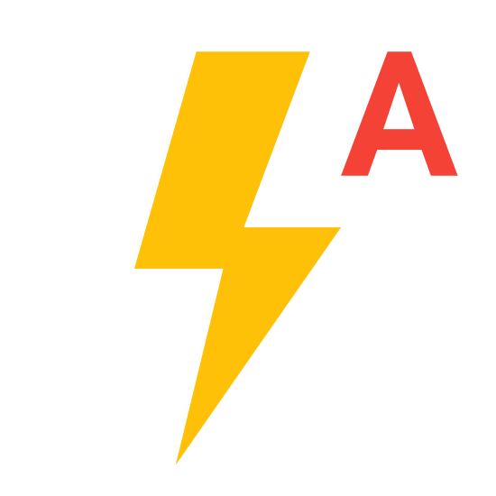 Flash Auto icon. It's a black outline of a lightning bolt positioned straight up and down, with one jag in the lightning bolt. A black capital letter A in a sans-serif font is in the top right corner, with the top of the letter A level with the top point of the lightning bolt.