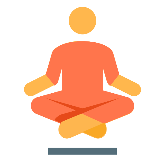 Lewitujący Guru  icon. The icon is of a person sitting with their legs crossed and their hands on top of their knees. The person is floating slightly above the ground.