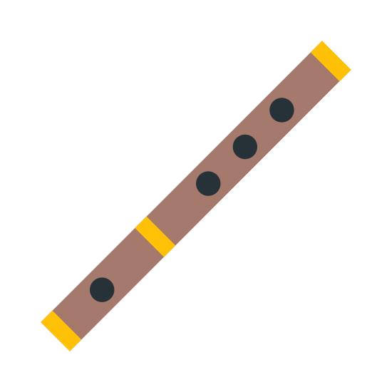 Flute icon. The icon is a picture of a flute. The icon is narrow but long, and is at an angle. The mouthpiece of the instrument is located at the bottom left, whilst the hand holes are located toward the top right.