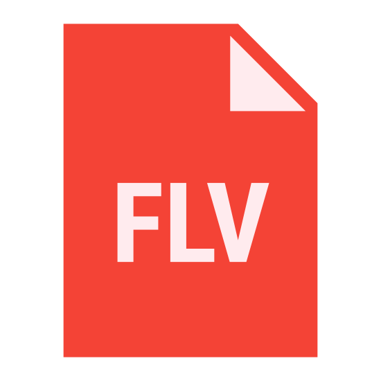 """FLV icon. The icon looks like it is a plain page of paper with a dog eared corner. Placed on the paper are the capital letters """"FLV."""" One would normally think this icon associates with some sort of computer file."""